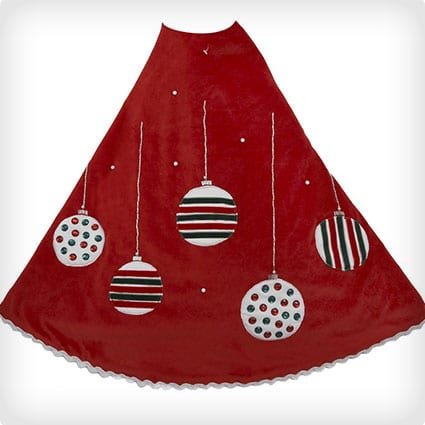Red Treeskirt with Ornament Design, 48-Inch