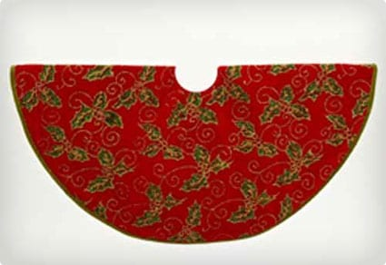 Red with Green and Gold Holly 18-inch Mini Tree Skirt