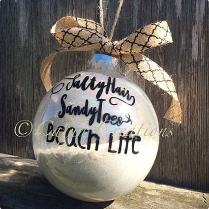 Salty Hair, Sandy Toes, Beach Life, Christmas tree Ornament,