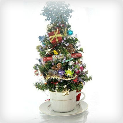 Santa Tabletop Tree With Toys And Sparkle