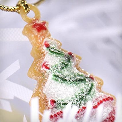 Set of 4 Itty Bitty Frosted Plastic Christmas Cookie Garlands on Gold String