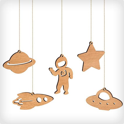 Space Christmas Ornaments - Box Set - Tasmanian Oak Wood