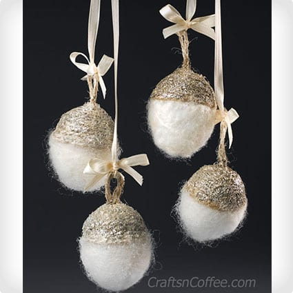 Sparkling Needle Felted Acorn Ornaments