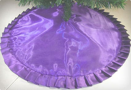 Sparkly Purple with Ruffle Pencil Christmas Tree Skirt