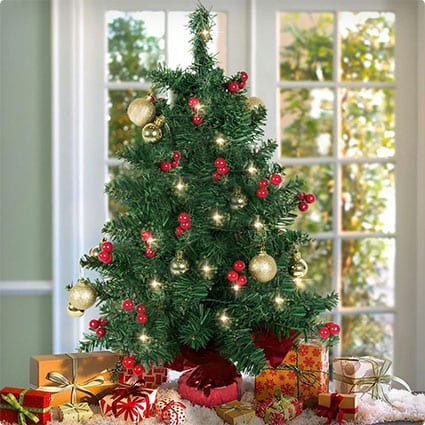 Tabletop Pre-lit Tree with Red Berries And Gold Ornaments