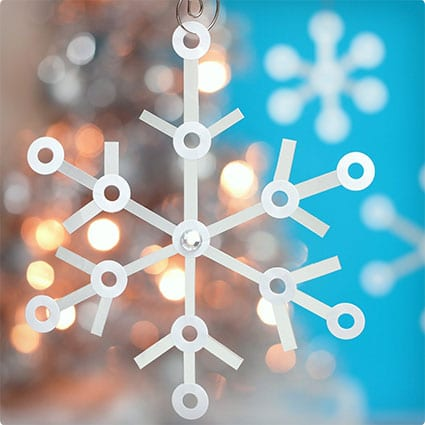 Tetra Pak and Paper Reinforcement Snowflake Ornaments