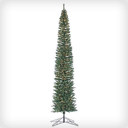 Tower Pencil Pine Lighted Artificial Christmas Tree