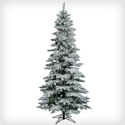 Utica Flocked Tree, Unlit, Slim