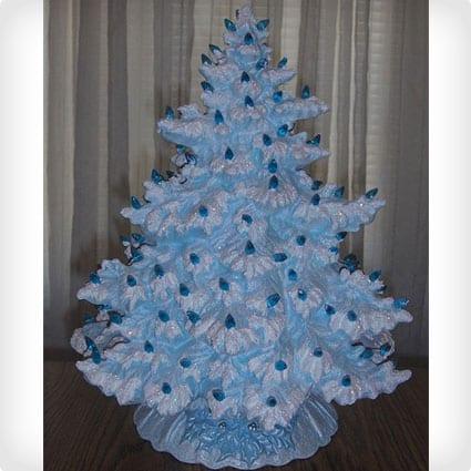 Vintage 17 Inch Lighted Ceramic Christmas Tree