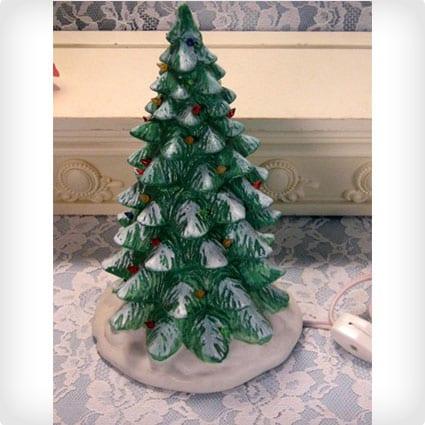 Vintage Ceramic Mini Size 1993 Lighted Christmas Tree