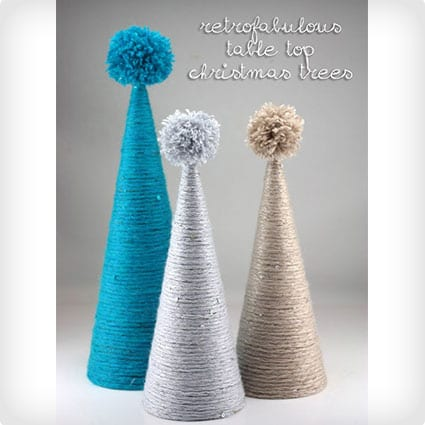 Yard Wrapped Tabletop Christmas Trees