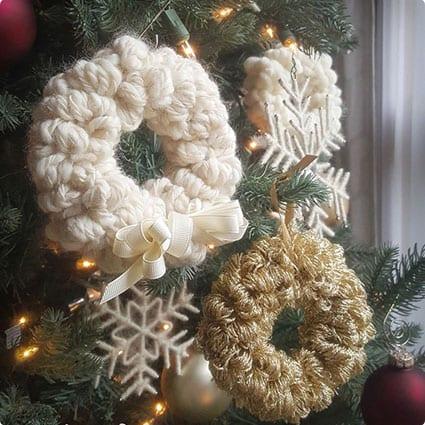 Yarn Scrap Christmas Wreath
