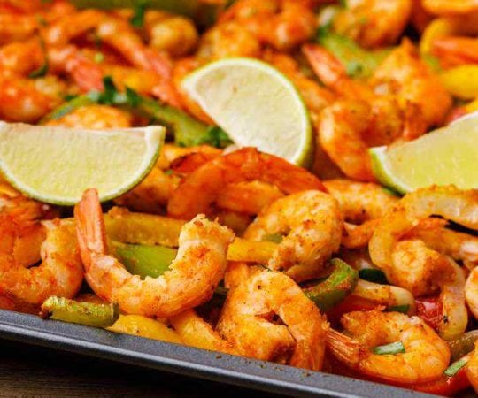 Healthy Sheet Pan Shrimp Fajitas