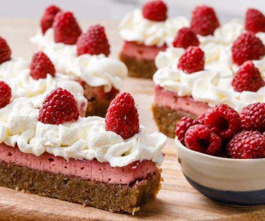 Raspberry Keto Cheesecake Bars
