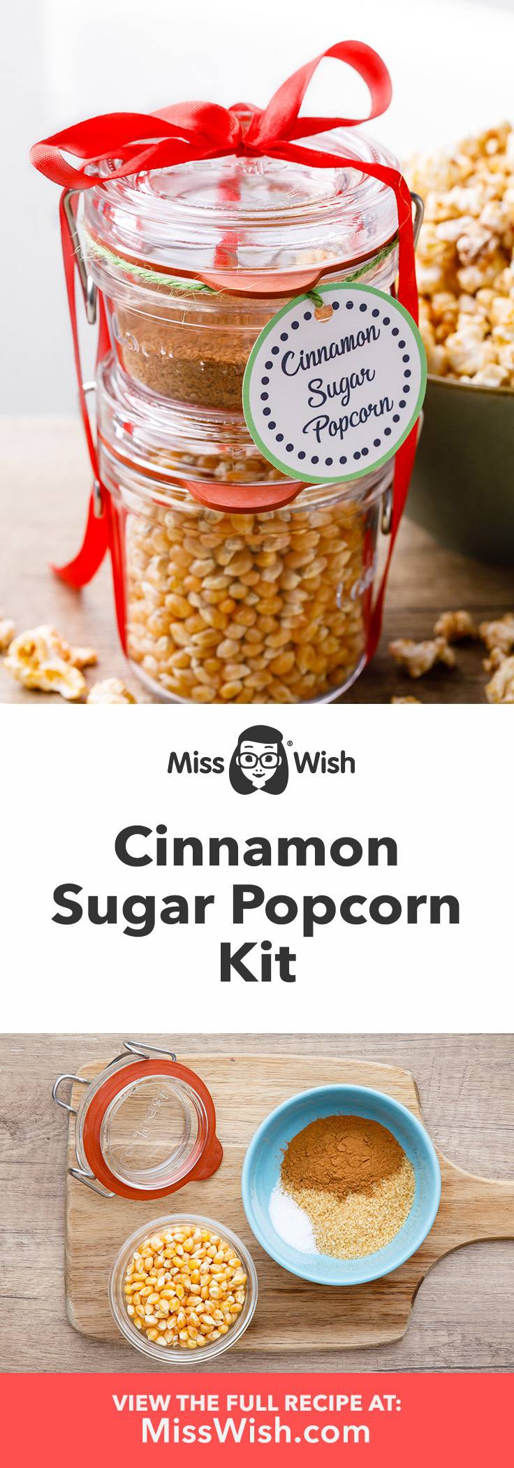 Easy diy cinnamon sugar popcorn gift kit.