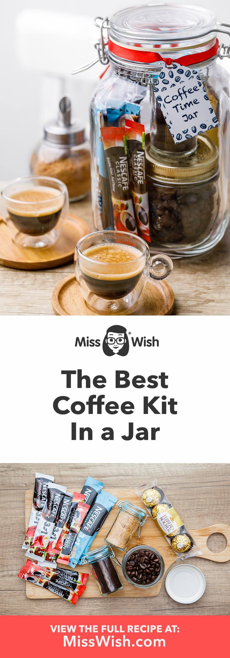 Easy diy coffee kit in a jar. Makes the perfect gift for coffee lovers!