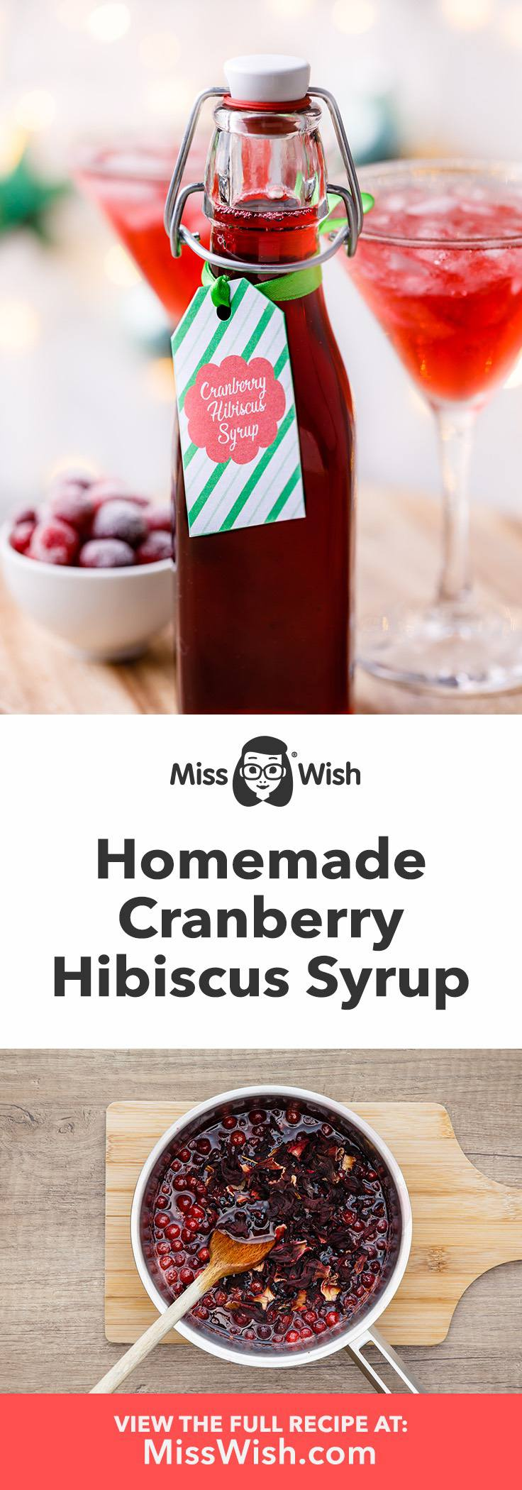 How to make homemade cranberry hibiscus syrup- for drinks, ice cream and desserts.