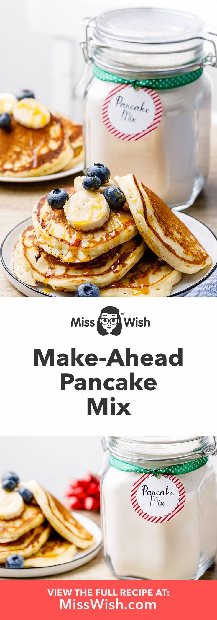Easy make-ahead homemade pancake mix recipe.