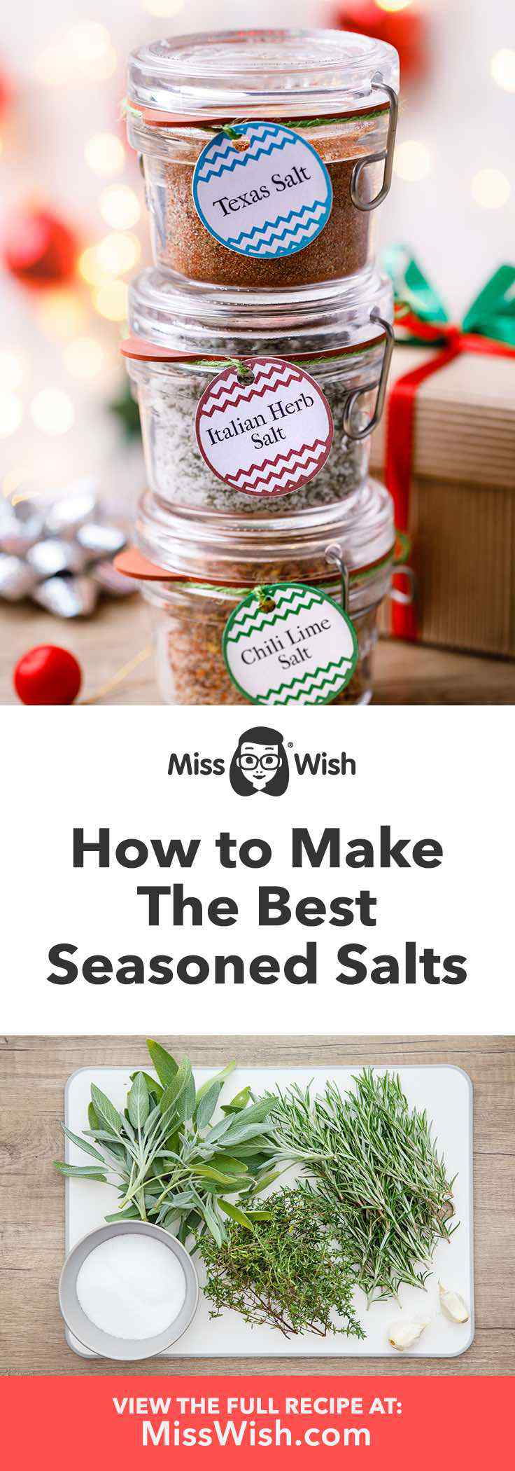 3 Best Homemade Seasoned Salts- chili lime, italian herb and texas salt.