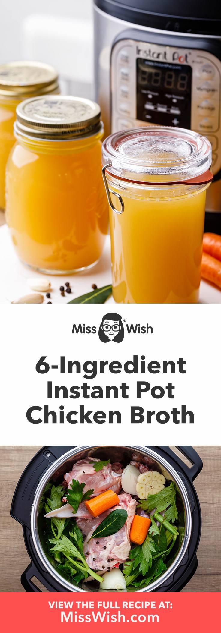 6-Ingredient Instant Pot Chicken Broth from Scratch