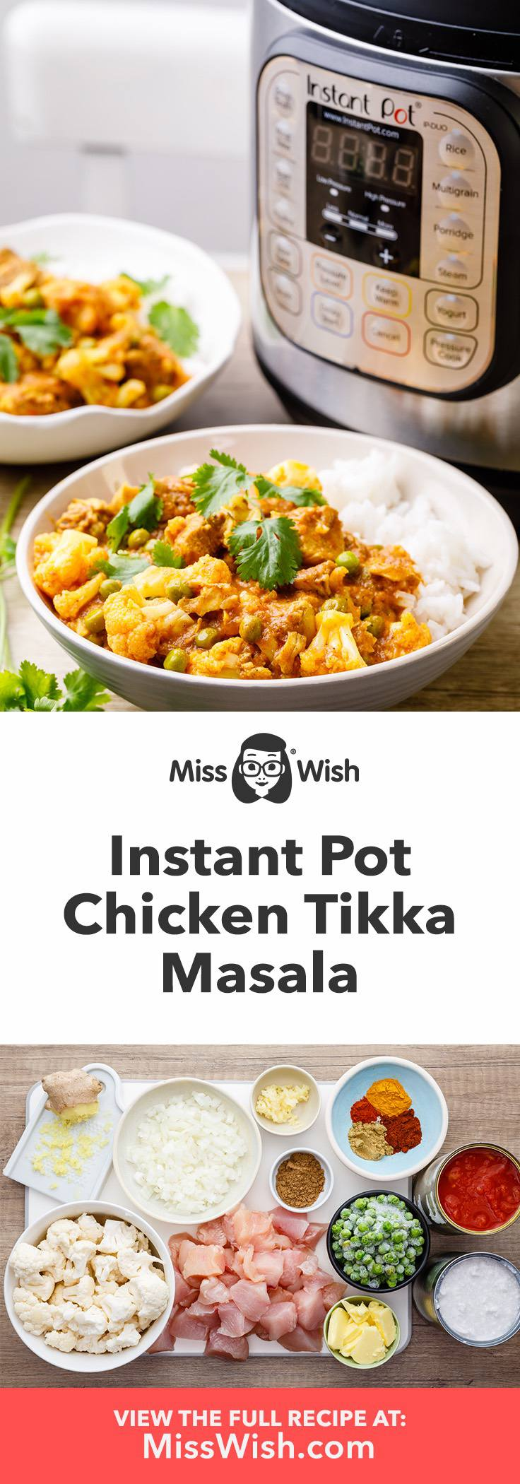 Yummy Instant Pot Chicken Tikka Masala with Cauliflower and Peas