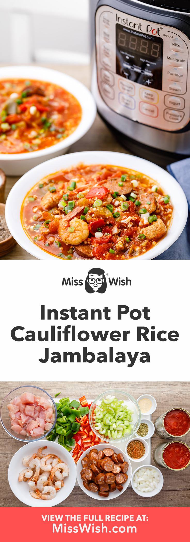 Healthy Instant Pot Jambalaya with Cauliflower Rice