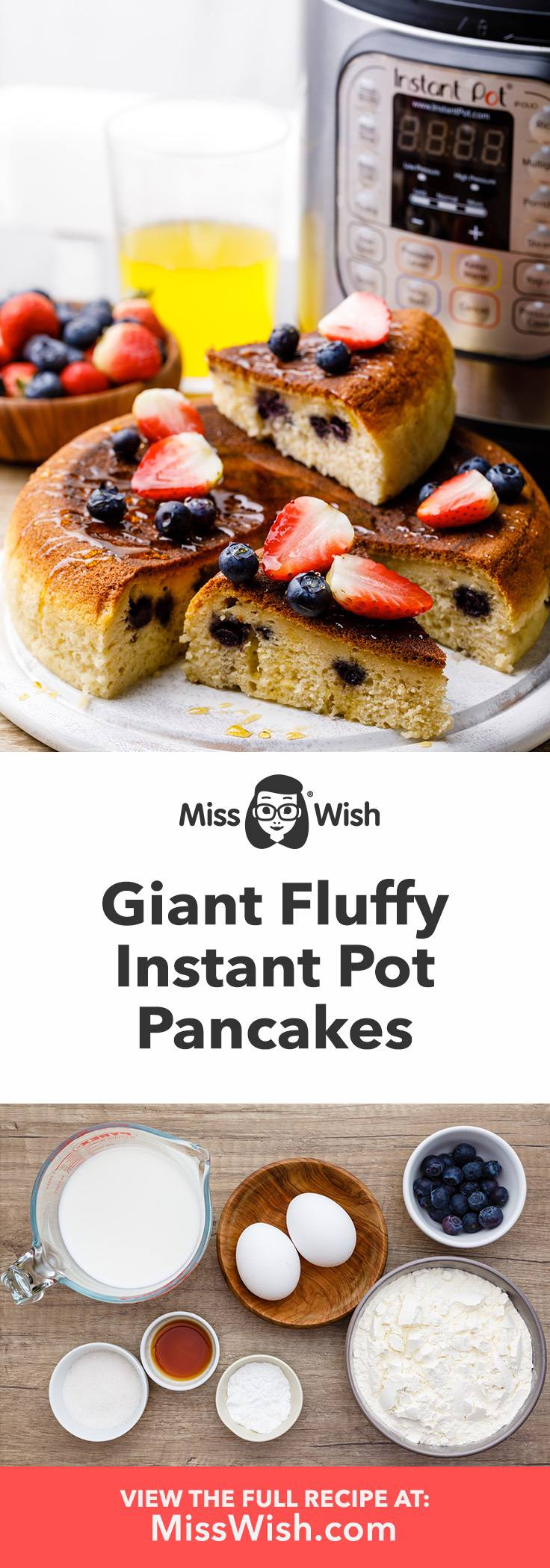 Giant Fluffy Instant Pot Blueberry Pancakes