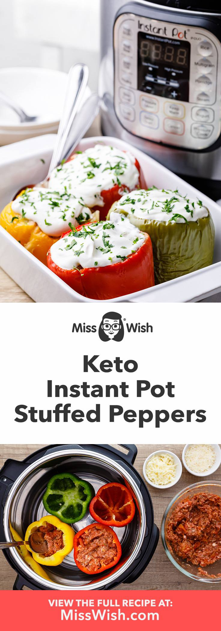 Keto Instant Pot Stuffed Peppers (No Rice Recipe)