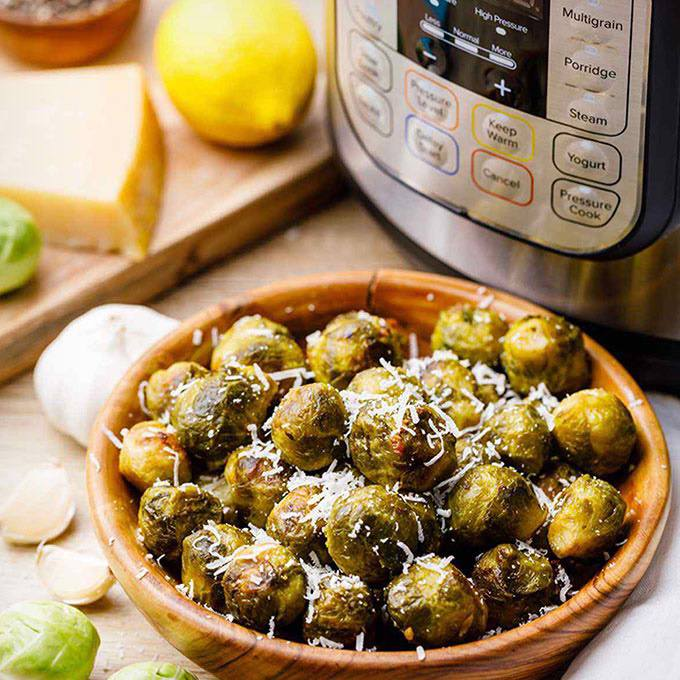 5-Ingredient Garlic Roasted Instant Pot Brussel Sprouts