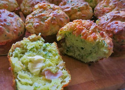 Ham, Cheese And Spinach Muffins
