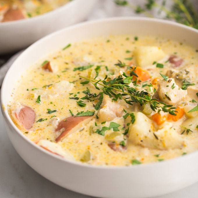 Healthy Chicken Pot Pie Soup
