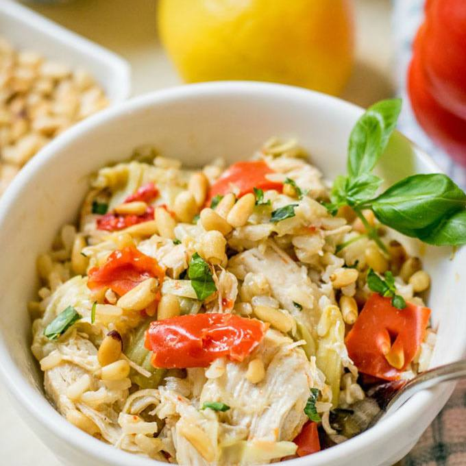 Instant Pot Mediterranean Chicken and Rice Bowl