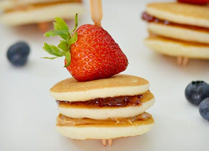 Peanut Butter and Jelly Mini Pancake Stacks