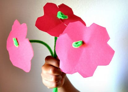 Pipe Cleaner Construction Paper Flowers