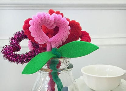 Pipe Cleaner Heart Flowers