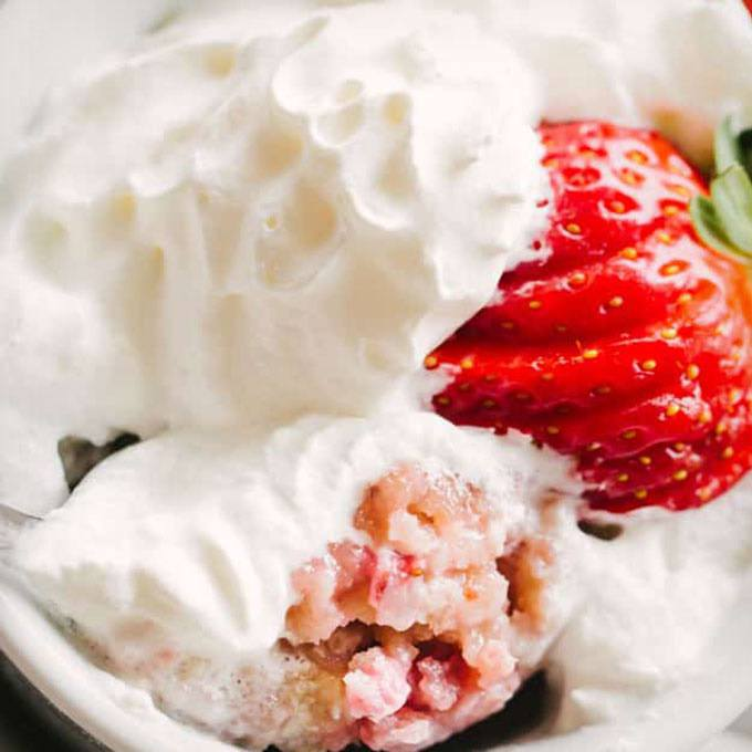 Strawberries And Cream Mug Cake