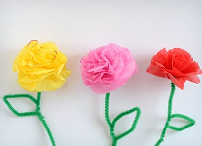Tissue Paper and Pipe Cleaner Flowers