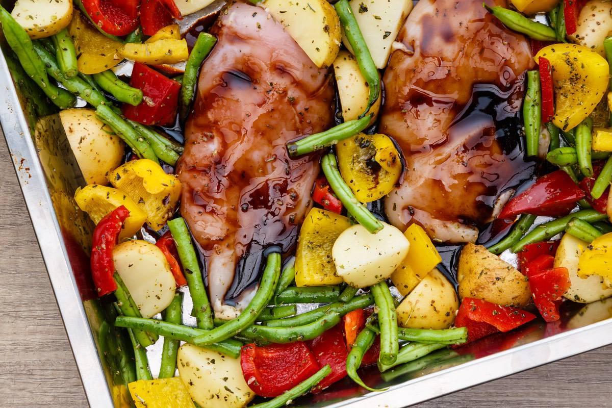 Baked Sheet Pan Balsamic Chicken Recipe