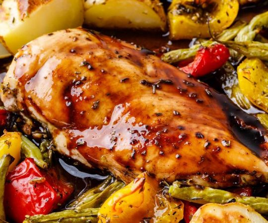 Baked Sheet Pan Balsamic Chicken Recipe