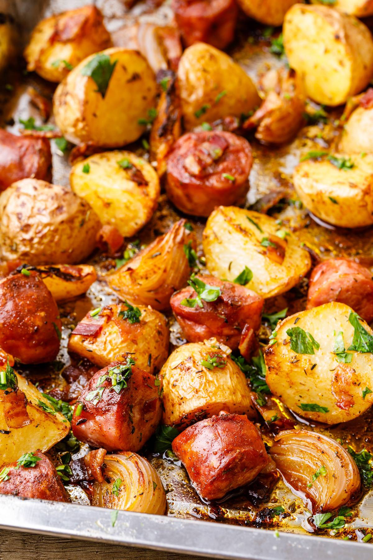 Baked Sheet Pan Sausage And Potatoes Recipe