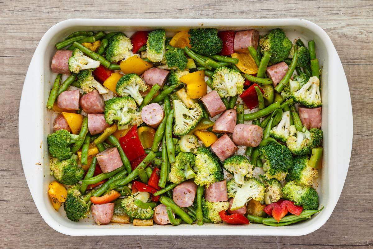 Baked Sheet Pan Sausage And Vegetables Recipe