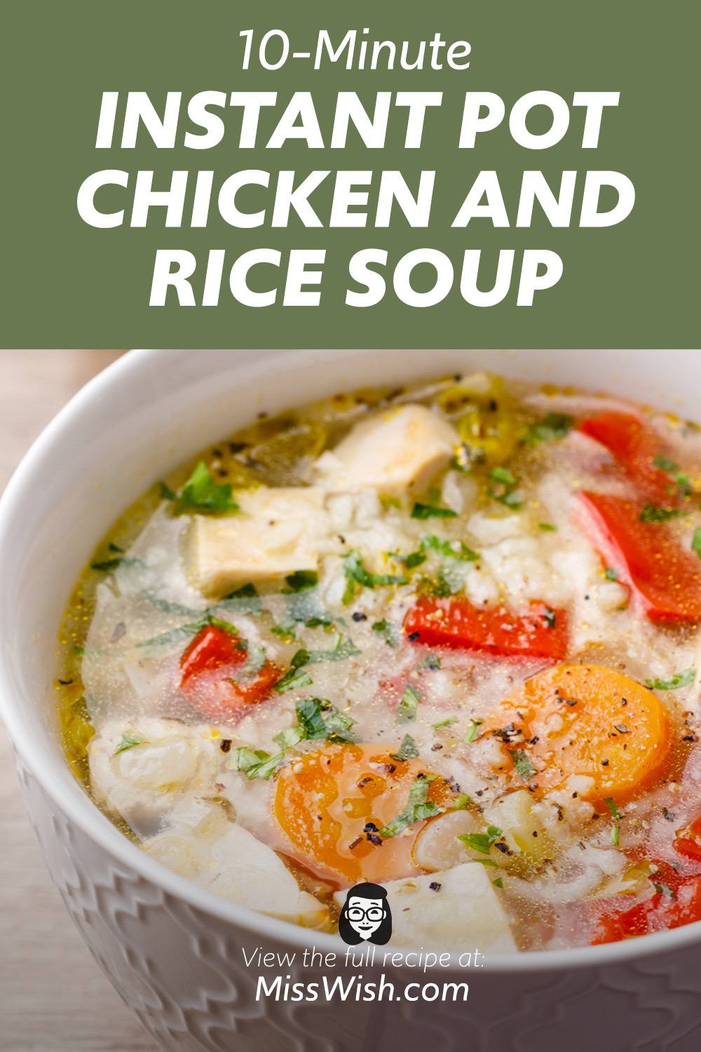 10-Minute Instant Pot Chicken and Rice Soup